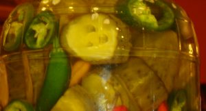 pickles and peppers close up